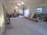 The hall is plastered